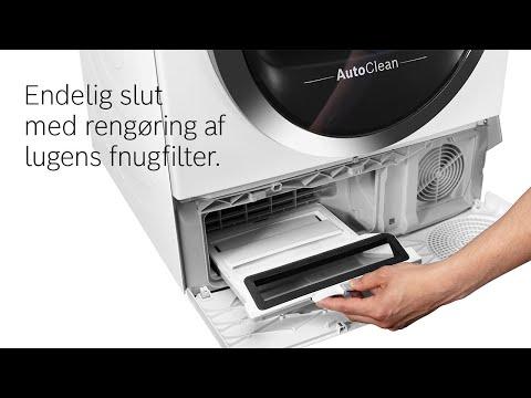 Bosch tørretumbler med AutoClean-funktion er uden fnugfilter i lugen.