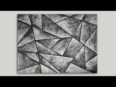 Geometric Abstract Painting Black and White Acrylic Painting Demo
