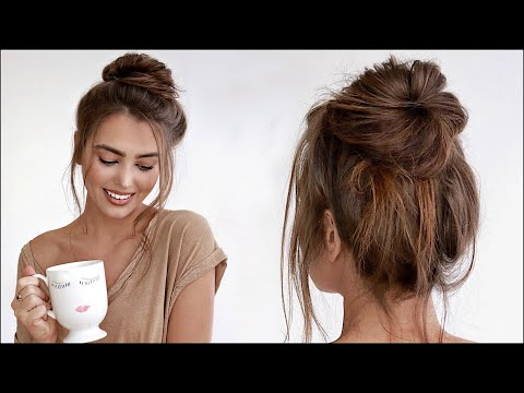 Perfect MESSY BUN Tutorial! *60 second hair* #StayAtHome