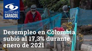Desempleo en Colombia subió al 17,3% durante enero de 2021
