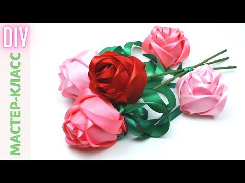 Новые РОЗЫ ИЗ ЛЕНТ без клея и ниток — СМОТРЯТСЯ ШИКАРНО! / Beautiful Satin Ribbon Roses / NataliDoma