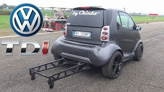 Smart Car Drag Build Feat. VW 1.9 TDI Engine Swap Smoking On The Dragstrip!