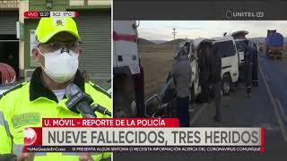 Nueve fallecidos y tres heridos en accidente de tránsito en la vía a Desaguadero