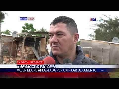 Mujer muere aplastada por un pilar de cemento en Areguá