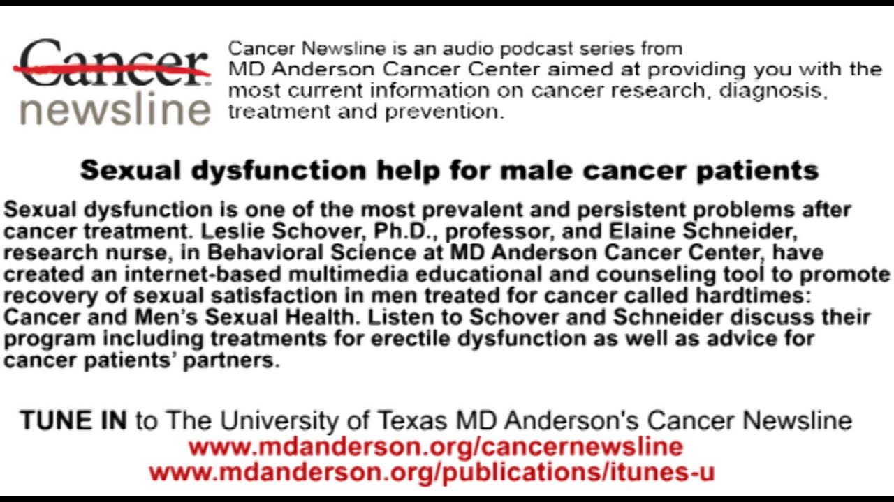 Sexual dysfunction help for male cancer patients