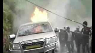 Cuatro vehículos quemados en enfrentamientos en Arcopongo