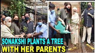 Sonakshi Sinha plants a tree with her parents - BOLLYWOODCOUNTRY