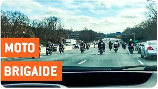 Motorcycle Crew Stops Freeway | Unplanned Bike Show