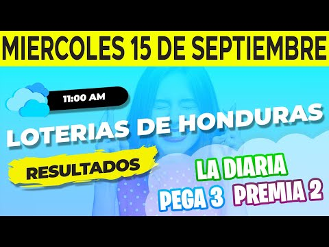 Sorteo 11AM Loto Honduras, La Diaria Pega 3 Premia 2, Miércoles 15 de Septiembre del 2021   Ganador