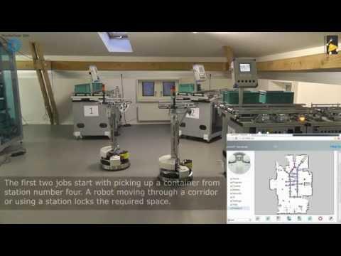 Robotino 3 - Fleet Coordination, with Festo Modular Production System