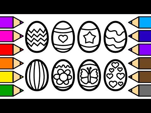 Colouring Easter Eggs and Colouring with Glitter, Drawing and Painting Frog Painting Pages