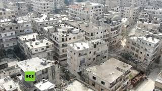 Siria: Imágenes aéreas muestran la ciudad de Ariha abandonada a causa de los combates