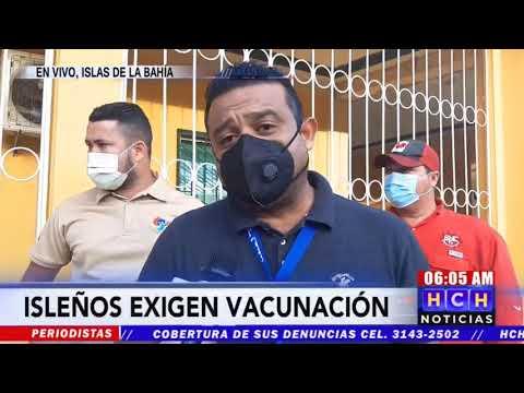 ¡Plantón! Comunicadores de Islas de La Bahía exigen vacunación contra #Covid19