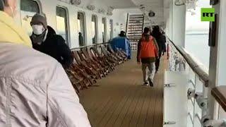 Imágenes dentro del crucero en cuarentena por coronavirus en Japón