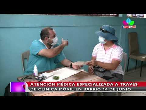 Atención médica especializada a través de clínica móvil en barrio 14 de junio