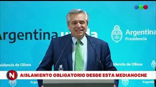 Alberto Fernández declaró la CUARENTENA TOTAL por el CORONAVIRUS - Telefe Noticias