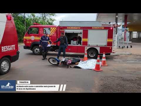 Acidente entre moto e caminhão mata jovem de 19 anos em Aquidauana