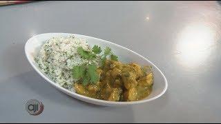 Receta Ají: Pollo al curry con arroz de cilantro y limón