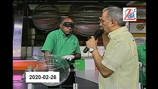 Sorteo de la noche del 26 de Febrero del 2020 (Lotería Nacional Dominicana, Nacional Noche)