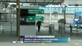 Terminales terrestres reinician operaciones este miércoles