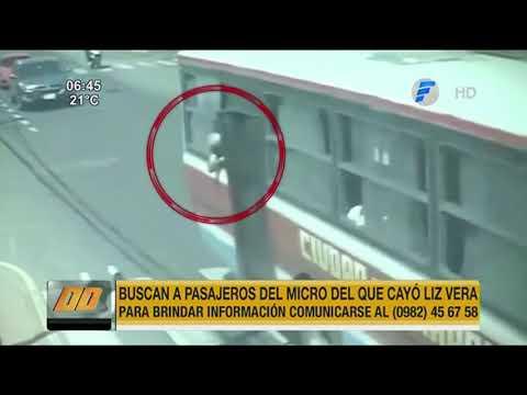 Buscan a pasajeros del colectivo del que cayó Liz Vera