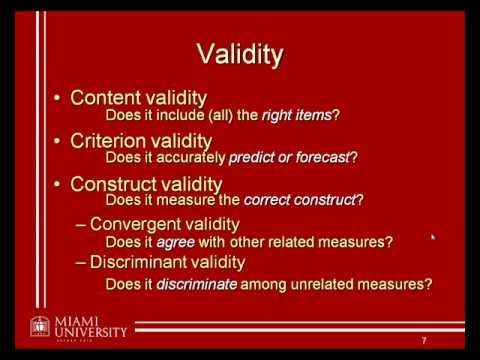 Validity and Reliability Matrix - Essay Example