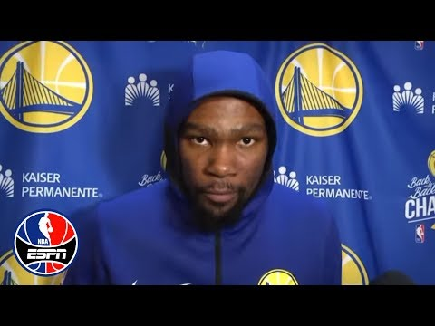 Kevin Durant when questioned about Draymond Green: 'Don't ask me that again'
