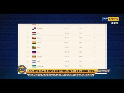 Bolivia baja dos puestos en el ranking FIFA del puesto 79 al 81 es la última posición de la Conmebol