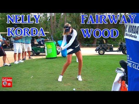 NELLY KORDA FACE ON FAIRWAY WOOD GOLF SWING 1080 HD
