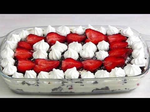 Роскошный КЛУБНИЧНЫЙ Десерт за 10 МИНУТ!Торт без выпечки.