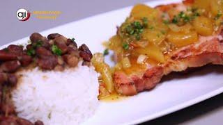 Receta Ají: Porotos con el hueso del jamón con arroz con coco y chuleta ahumada
