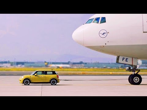 MINI Cooper S Electric pulls 150-Tons Boeing aircraft