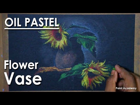 Oil Pastel Flower Vase Composition : step by step Drawing