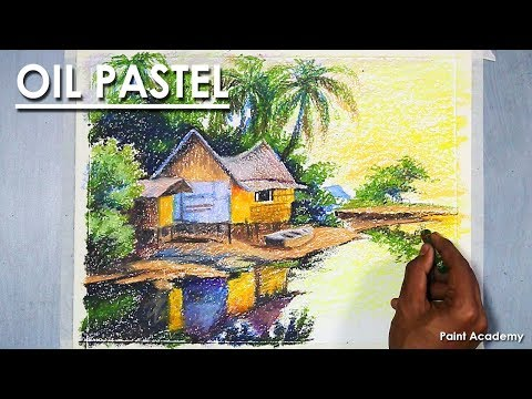 Drawing with Oil Pastel : A Riverside Landscape | pastel techniques step by step