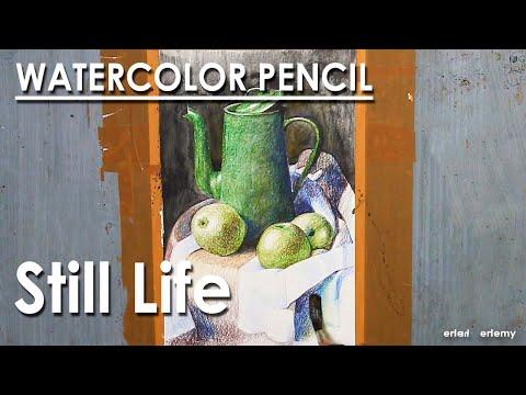 Still Life Drawing in Watercolor Pencil : Jug & Fruits