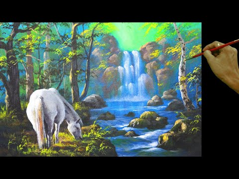 a12e8823a White Horse And The Waterfall In Easy Step By Step Full Acrylic Painting  Tutorial By JM Lisondra