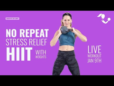 LIVE No Repeat Stress Relief Hiit Workout with Weights