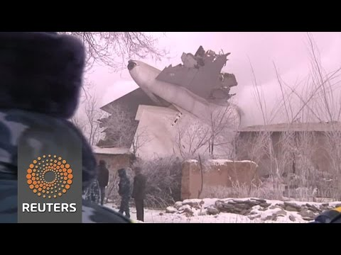 Drone footage shows crash site of Turkish cargo jet that killed 37 in Kyrgyzstan