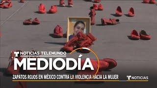 Cientos de zapatos rojos: así se protesta los feminicidios en México   Noticias Telemundo