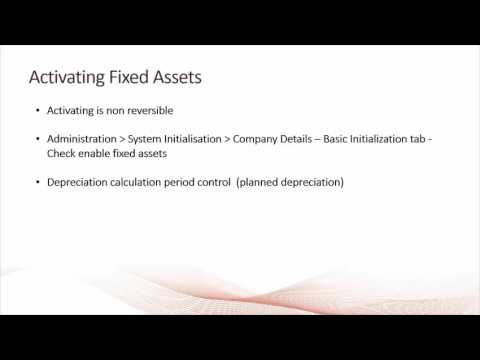 SAP Business One- Fixed Assets - Introduction and Activation