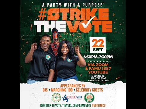 FAMU GOTV Virtual Challenge & Party with a Purpose, Sept 22, 2020 at 6:30pm.