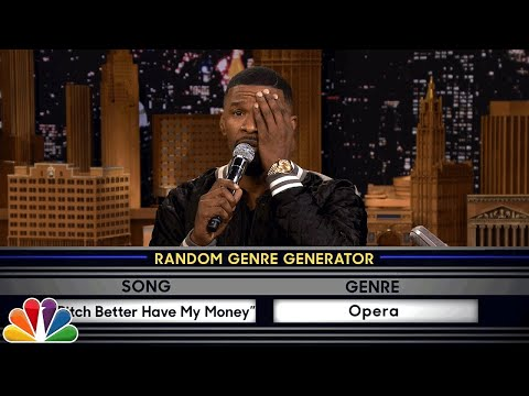 """Musical Genre Challenge with Jamie Foxx Jimmy and Jamie sing popular songs in different musical styles, like """"Who Let the Dogs Out"""" as a Broadway musical and """"Bitch Better Have My Money"""" as an opera.  Subscribe NOW to The Tonight Show Starring Jimmy Fallon: http://bit.ly/1nwT1aN  Watch The Tonight Show Starring Jimmy Fallon Weeknights 11:35/10:35c Get more Jimmy Fallon:  Follow Jimmy: http://Twitter.com/JimmyFallon Like Jimmy: https://Facebook.com/JimmyFallon  Get more The Tonight Show Starring Jimmy Fallon:  Follow The Tonight Show: http://Twitter.com/FallonTonight Like The Tonight Show: https://Facebook.com/FallonTonight The Tonight Show Tumblr: http://fallontonight.tumblr.com/  Get more NBC:  NBC YouTube: http://bit.ly/1dM1qBH Like NBC: http://Facebook.com/NBC Follow NBC: http://Twitter.com/NBC NBC Tumblr: http://nbctv.tumblr.com/ NBC Google+: https://plus.google.com/+NBC/posts  The Tonight Show Starring Jimmy Fallon features hilarious highlights from the show including: comedy sketches, music parodies, celebrity interviews, ridiculous games, and, of course, Jimmy"""