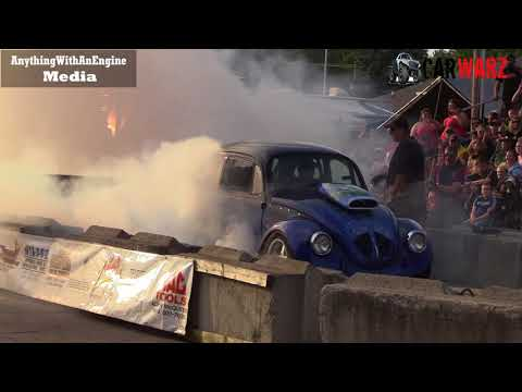 Modified VW Bug Going Huge At Rod Benders Burnout Competition