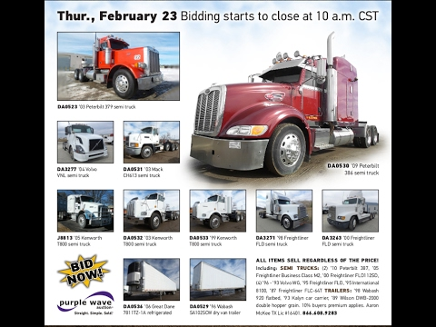 Truck and trailer auction | February 23, 2017 | Purple Wave