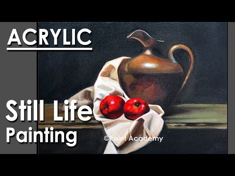 Realistic Still Life in Acrylic | step by step Painting-  Episode-5