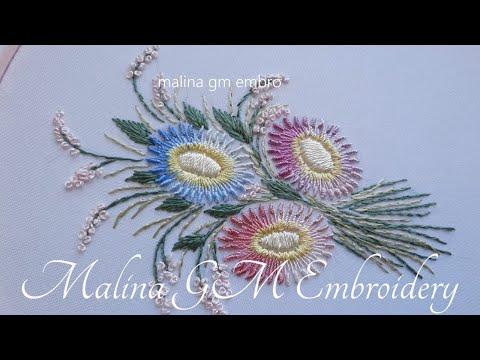 Brazilian Embroidery   Knotted Lazy Daisy stitch   Dimensional Embroidery