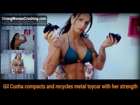 Gil Cunha compacts and recycles metal toycar with her strength