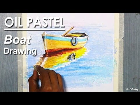 How to Draw A Realistic Boat in the River in Oil Pastel