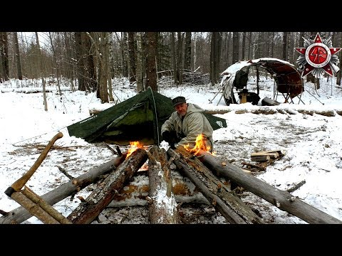 Solo Winter Camping On Survival Rations 2018 Siberian Log Fire