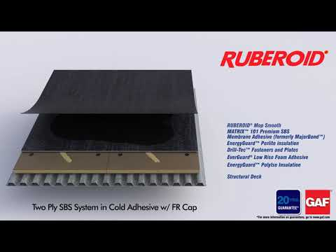 Ruberoid Two Ply SBS System in Cold Adhesive with FR Cap by GAF